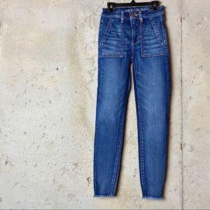 American eagle dark wash skinny jeans stretchy